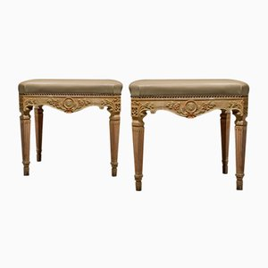 19th Century Louis XVI Style Italian Rectangular Footstools, Set of 2