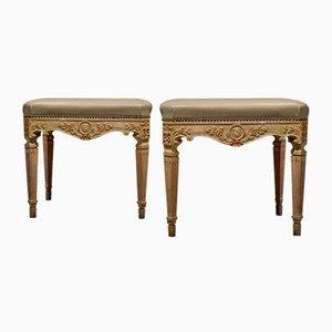 Repose-Pieds Rectangulaire Style Louis XVI, Italie, 19ème Siècle, Set de 2