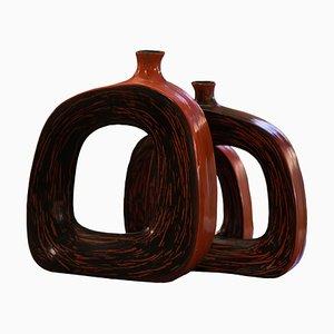Jarrones franceses de cerámica, años 70. Juego de 3
