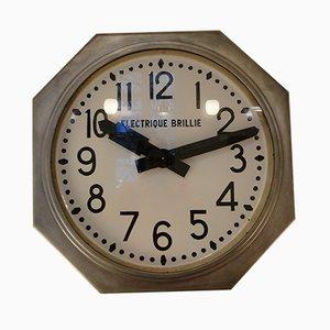 Large Octagonal Station Clock by Brillié, 1950s