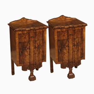 Art Deco Italian Burr Walnut Nightstands, 1950s, Set of 2