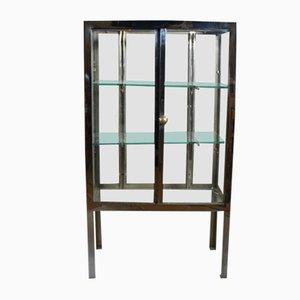 Vitrina vintage de acero y vidrio, años 30