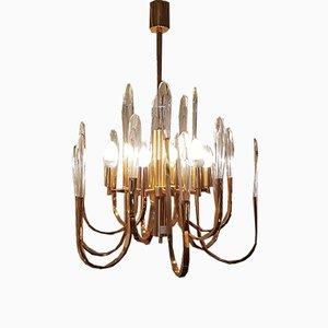 Lámpara de araña italiana vintage de latón y vidrio de Gaetano Sciolari
