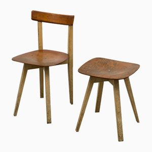 Mid-Century Dining Chair and Footstool Set by Niko Kralj for Stol Kamnik, 1950s