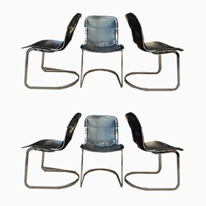 Leather and Metal Chrome Dining Chairs by Willy Rizzo, 1970s, Set of 6