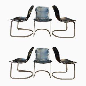 Sillas de comedor de cuero y metal cromado de Willy Rizzo, años 70. Juego de 6