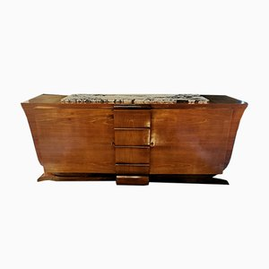 Art Deco French Rosewood and Marble Sideboard, 1930s