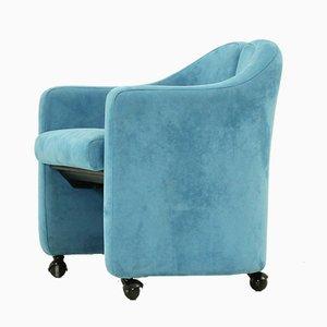 Blauer Modell PS 142 Sessel aus Nubukleder von Eugenio Gerli für Tecno, 1970er