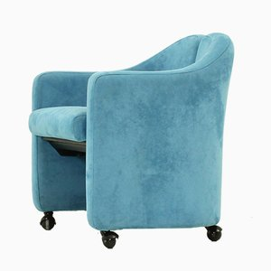 Blue Nubuck Leather Model PS 142 Armchair by Eugenio Gerli for Tecno, 1970s