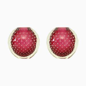 Candelabros de cristal de Murano, años 50. Juego de 2