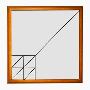 Italian Screen Printed Wooden Mirror, 1970s