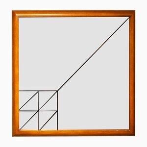 Specchio serigrafato con cornice il legno, Italia, anni '70