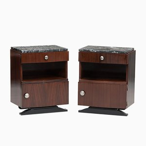 Vintage Art Deco Rosewood and Marble Nightstands, Set of 2