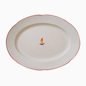 Piatto grande ovale in ceramica di Gio Ponti per Richard Ginori, 1936