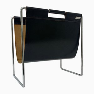 Mid-Century Leather Magazine Rack