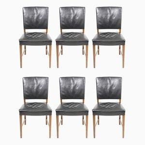 Dänische Mid-Century Esszimmerstühle mit Lederbezug, 1940er, 6er Set