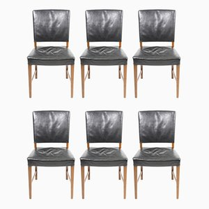 Mid-Century Danish Leather Dining Chairs, 1940s, Set of 6