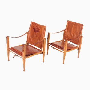 Mid-Century Leather Lounge Chairs by Kaare Klint for Rud. Rasmussen, 1960s, Set of 2