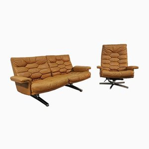 Aniline Leather Model DS 35 Sofa and Armchair Set from de Sede, 1970s