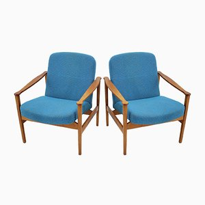 Blue Armchairs, 1960s, Set of 2