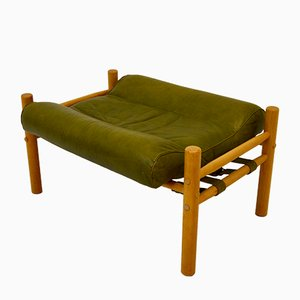Green Leather Footstool by Arne Norell for Arne Norell AB, 1970s