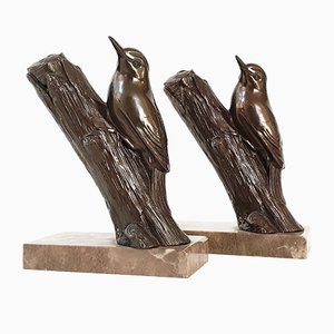 Art Deco French Steel & Marble Birds Bookends, 1930s, Set of 2