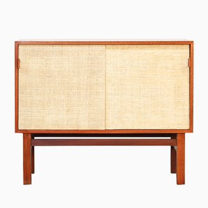 Mid-Century Danish Teak, Cane, and Leather Sideboard, 1960s