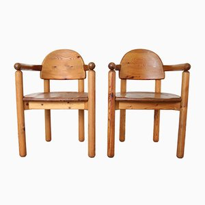Pinewood Dining Chairs, 1970s, Set of 2