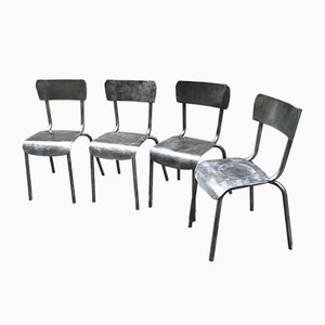 Metal Bistro Chairs, 1940s, Set of 4
