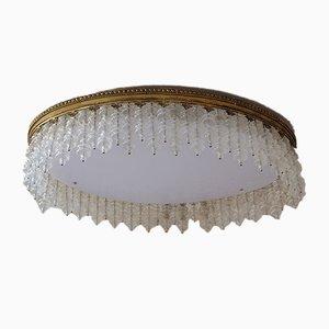 Großer ovaler Mid-Century Kronleuchter mit Behang aus Muranoglas, 1950er