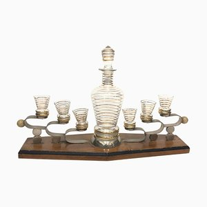 Art Deco Italian Glass and Wood Liquor Set, 1930s