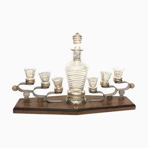 Art Deco Italian Glass and Wood Liquor Set, 1930s