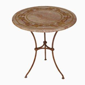 Table d'Appoint en Travertine avec Décoration en Feuille d'Acanthe de Cupioli Luxury Living