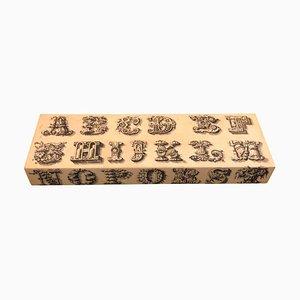 Caja de bisutería Mid-Century decorada con alfabeto de Piero Fornasetti, años 60