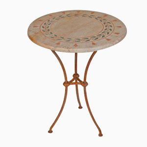 Classic Inlaid Decoration Travertine Scabas Side Table from Cupioli Luxury Living