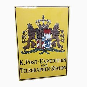 Cartel postal y telégrafo alemán vintage esmaltado