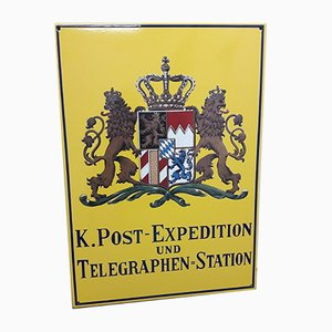 Emailliertes deutsches Vintage Post- & Telegraphenschild