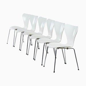 Weiße Butterfly Stühle von Arne Jacobsen für Fritz Hansen, 1980er, 6er Set