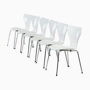 White Butterfly Chairs by Arne Jacobsen for Fritz Hansen, 1980s, Set of 6