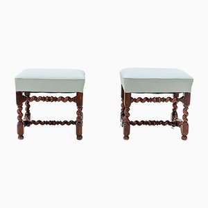 Antique Dutch Walnut Ottomans, Set of 2
