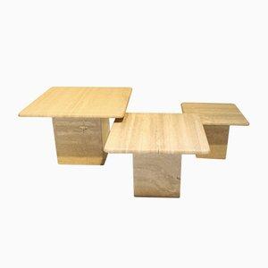 Tables Basses Vintage en Travertin, Italie, 1970s, Set de 3