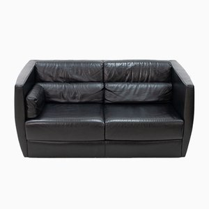 Black Leather Loveseat by Christophe Delcourt for Roche Bobois, 2000s