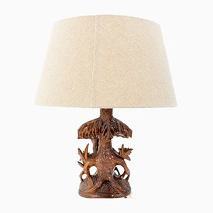 Vintage German Carved Table Lamp, 1930s