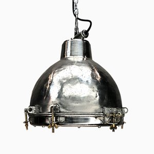 Vintage Industrial Japanese Aluminum and Glass Pendant Lamp, 1970s
