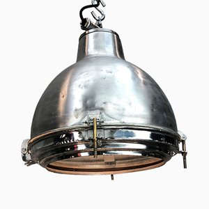 Vintage Industrial Japanese Satin Aluminum and Glass Pendant Lamp, 1970s