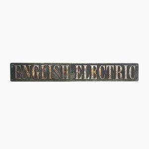 Targa vintage del motore di una locomotiva, Regno Unito, anni '20