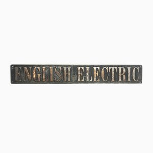 Vintage English Electric Locomotive Engine Plate, 1920s