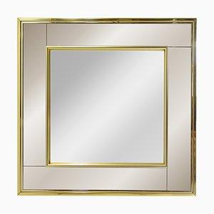Quadratischer Vintage Spiegel mit Messingrahmen und Zwei Rahmen