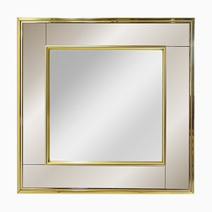 Vintage Square Brass Framed Two-Toned Mirror