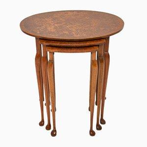 Burr Walnut Oval Nesting Tables, 1920s, Set of 3